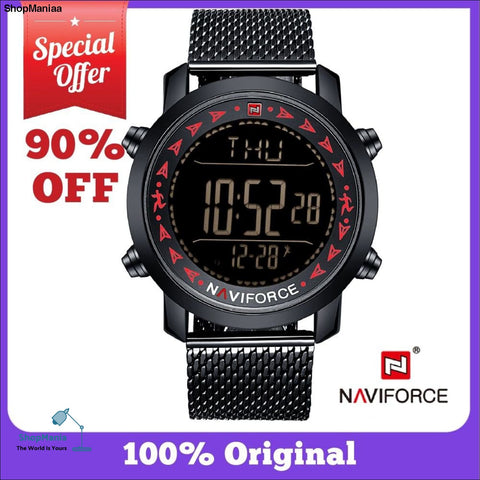 NAVIFORCE Sport Watch Mens Watches Top Brand Luxury Digital Watch Mesh Strap Waterproof 30M Clock Black LED Hour Time 2019 Hot