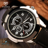 New Fashion YAZOLE 3ATM Sport Army Genuine Leather Quartz Wrist Watch Wristwatches for Men Male Students Boy - ShopManiaa www.shopmaniaa.com