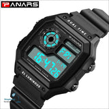 PANARS 2018 New Watches Men Top Luxury Fitness LED Digital Mens Watch Sports G Style Shock Waterproof Vibrator Wrist Watches - Black -