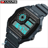 PANARS 2018 New Watches Men Top Luxury Fitness LED Digital Mens Watch Sports G Style Shock Waterproof Vibrator Wrist Watches - Gray -