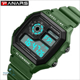 PANARS 2018 New Watches Men Top Luxury Fitness LED Digital Mens Watch Sports G Style Shock Waterproof Vibrator Wrist Watches - Green -