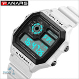 PANARS 2018 New Watches Men Top Luxury Fitness LED Digital Mens Watch Sports G Style Shock Waterproof Vibrator Wrist Watches - White -