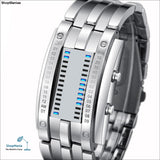 SKMEI Fashion Creative Watches Men Luxury Brand Digital LED Display 50M Waterproof Lovers Wristwatches Relogio Masculino - SilverLarge -