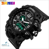 Skmei New S Shock Men Sports Watches Big Dial Quartz Digital Watch For Men Luxury Brand Led Military Waterproof Men Wristwatches - Black -