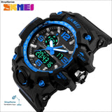 Skmei New S Shock Men Sports Watches Big Dial Quartz Digital Watch For Men Luxury Brand Led Military Waterproof Men Wristwatches - Blue -
