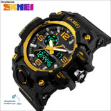 Skmei New S Shock Men Sports Watches Big Dial Quartz Digital Watch For Men Luxury Brand Led Military Waterproof Men Wristwatches - Gold -