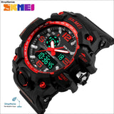 Skmei New S Shock Men Sports Watches Big Dial Quartz Digital Watch For Men Luxury Brand Led Military Waterproof Men Wristwatches - Red -