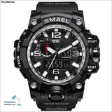 SMAEL Brand Men Sports Watches Dual Display Analog Digital LED Electronic Quartz Wristwatches Waterproof Swimming Military Watch - 1545