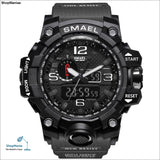 SMAEL Brand Men Sports Watches Dual Display Analog Digital LED Electronic Quartz Wristwatches Waterproof Swimming Military Watch - 1545 Gray