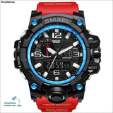 SMAEL Brand Men Sports Watches Dual Display Analog Digital LED Electronic Quartz Wristwatches Waterproof Swimming Military Watch - 1545 Red