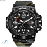 SMAEL Brand Men Sports Watches Dual Display Analog Digital LED Electronic Quartz Wristwatches Waterproof Swimming Military Watch - 1545B