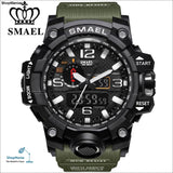 Smael Brand Men Sports Watches Dual Display Analog Digital Led Electronic Quartz Wristwatches Waterproof Swimming Military Watch -