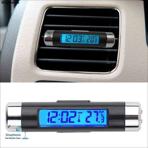 SPEEDWOW 2in1 Car Auto LCD Clip-on Digital Temperature Thermometer Clock Calendar Automotive Blue Backlight Clock Free Shipping