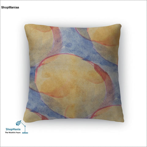 Throw Pillow, America Ancient Ornament Drawing Usa Yellow Blue Red Colorful
