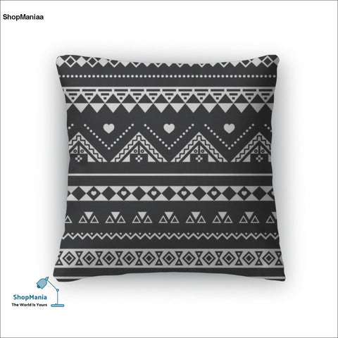 Throw Pillow, Aztec Pattern Tribal Black And White