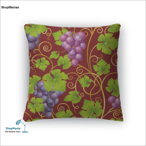 Throw Pillow, Seamless Grape Pattern