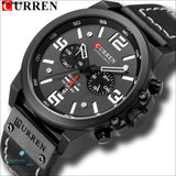 Top Brand Luxury Curren 8314 Fashion Leather Strap Quartz Men Watches Casual Date Business Male Wristwatches Clock Montre Homme - Black