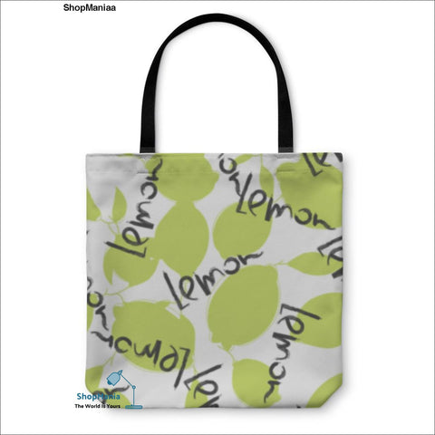 Tote Bag, Green Lime And Lemon Fruits On White Citrus Silhouette Pattern