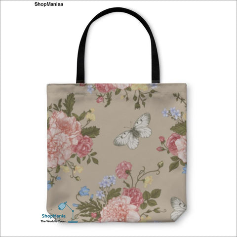 Tote Bag, Pattern With Flowers And Butterflies