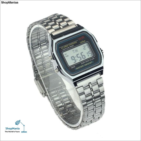 Vintage Womens Men Stainless Steel Digital Alarm Stopwatch Wrist Watch Excellent wholesale Wristwatch Fashion Watches Relogio
