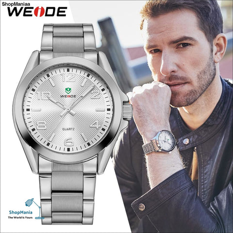 WEIDE Men Sports Watch Business Casual Analog Date Quartz Stainless Steel Strap Wrist watches Relogio Masculino Clock Horloges