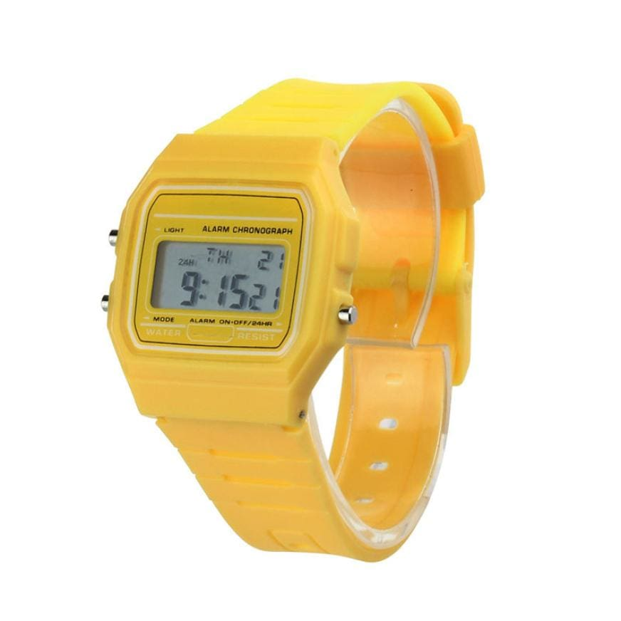 a yellow and black watch