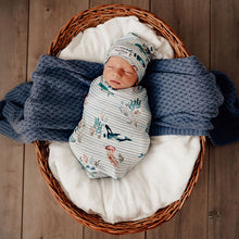 Load image into Gallery viewer, Whale Snuggle Swaddle & Beanie Set