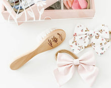 Load image into Gallery viewer, Floral wooden baby brush