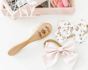 Floral wooden baby brush