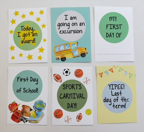 School days photo prop cards