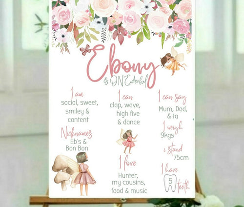 Woodland fairy birthday board
