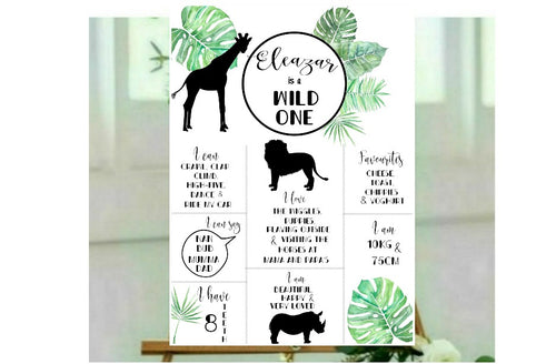 Animal silhouette birthday board