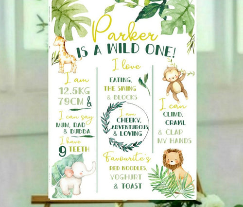 Wild one jungle birthday board
