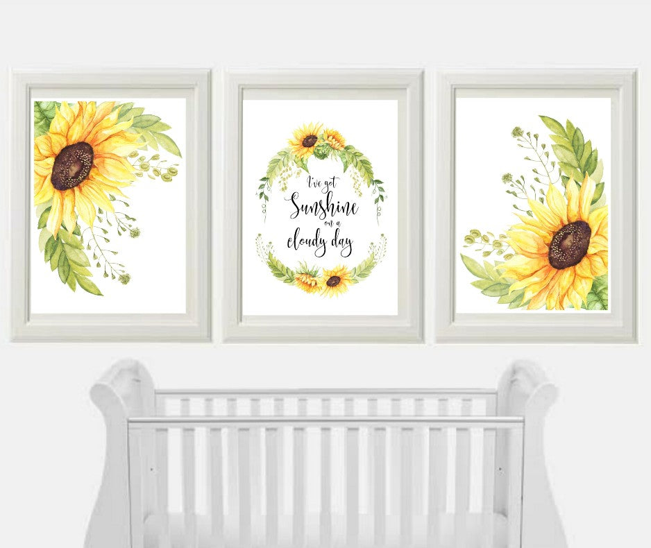 Sunflower print trio