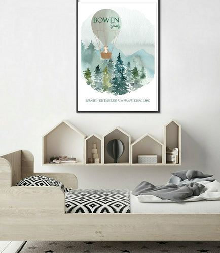 Bear in the balloon birth print