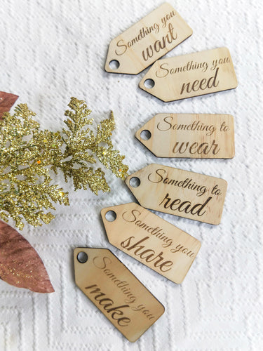 Want, Need, Wear, Make, Share & Read gift tags