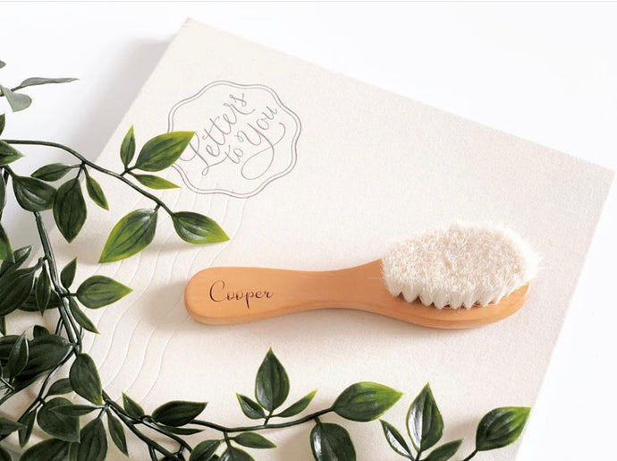Personalised wooden baby brush