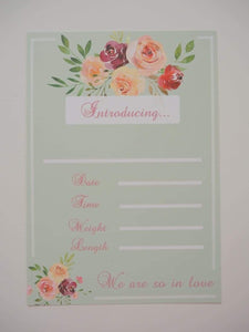 Vintage Bouquet Birth Announcement Card