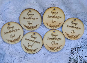 Personalised Want, Need, Wear, Make, Share & Read gift tags