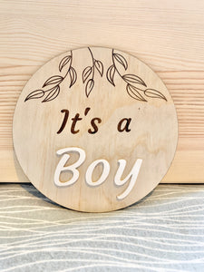It's a BOY gender reveal plaque