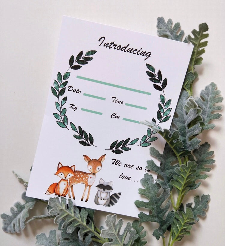 Woodland Animals Birth Announcement Card