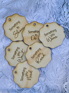 Want, Need, Wear, Make, Share & Read gift tags (Biscuit shape)