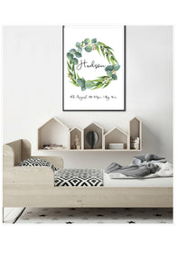 Foliage wreath birth print