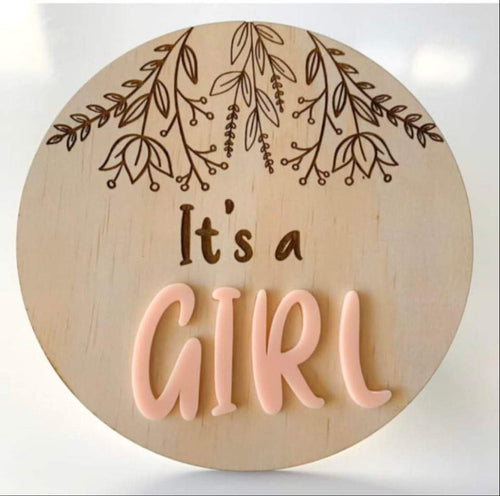 It's a GIRL gender reveal plaque