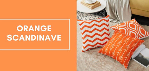 Coussin coloré orange au style scandinave