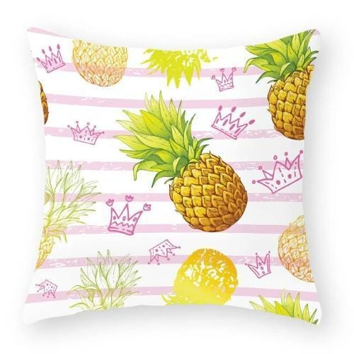 Coussin ananas avec couronnes roses