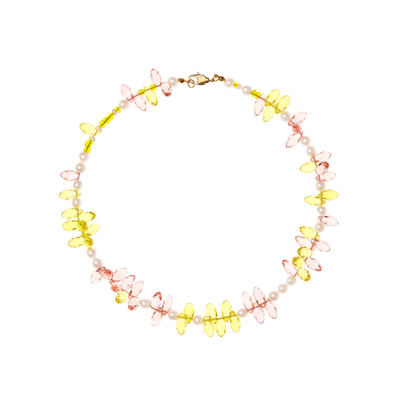 Pink And Yellow Crystal Pearl Necklace