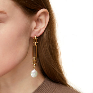 Gold Baroque GM Pearl Earrings