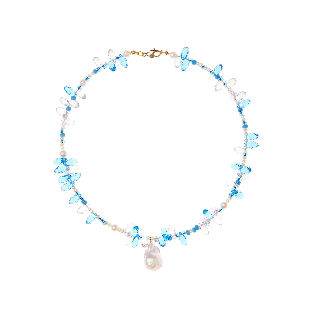Blue Crystal Pearl Necklace