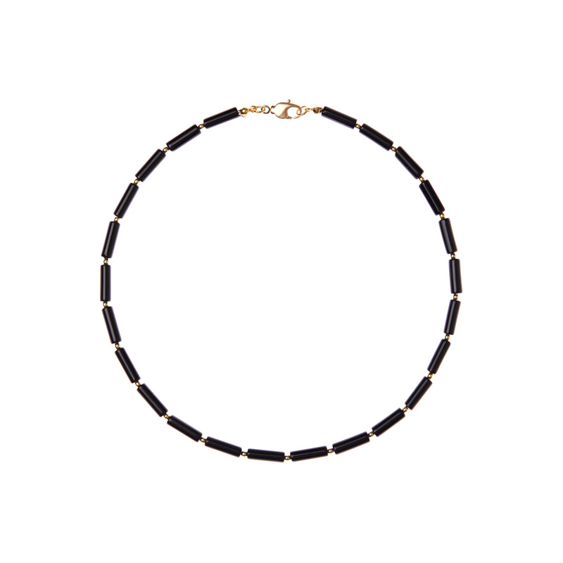 Black Onyx Tube Necklace